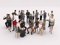 20x LOW POLY BUSINESS MAN CASUAL CAFETERIA SITTING WOMAN MAN PEOPLE CROWD