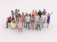 20x LOW POLY CASUAL SUMMER SITTING WOMAN MAN PEOPLE CROWD
