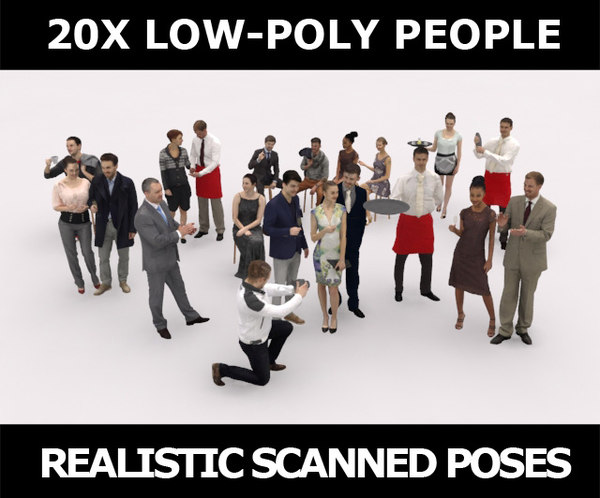 3D model scanned characters people casual
