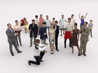 20x LOW POLY CASUAL SUMMER PEOPLE CROWD