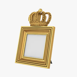 3D model realistic baroque photo frame