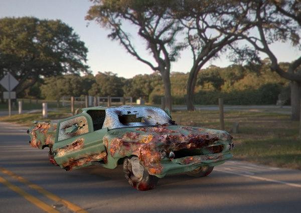 3D green classic smashed car model