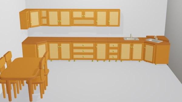 cartoon modular kitchen design 3D