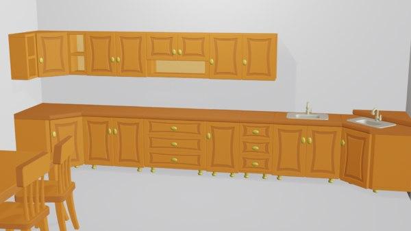 3D cartoon modular kitchen design model