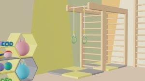 cartoon children gym 3D