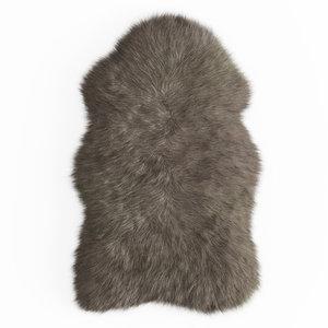 wool faux fur mongolian 3D model