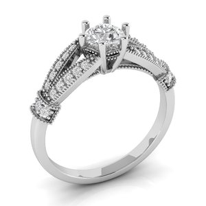 vintage luxury engagement ring 3D model