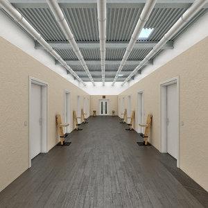 3D realistic office hallway