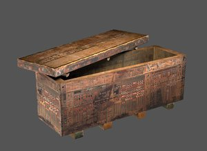 egyptian wood coffin 3D model