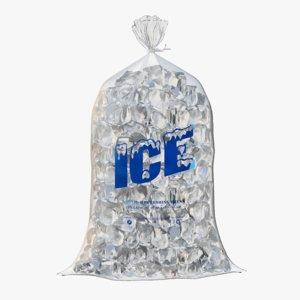 plastic bag ice cubes 3D