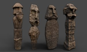 carved slavic wooden medieval 3D model