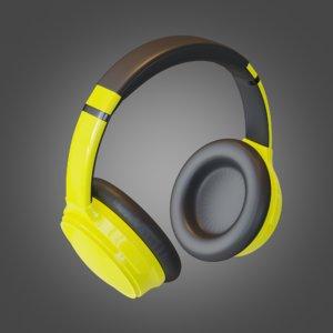 3D headphone yellow pbr subdivision