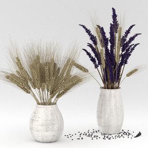 rye bouquet dried 3D