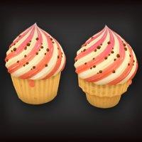 3D model low-poly set cupcakes