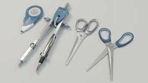 scissors divider pen corrector 3D