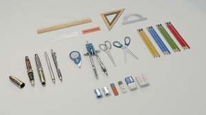 school supplies pack 3D model