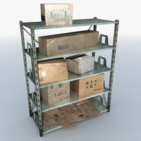 Metal Shelving With Boxes 1