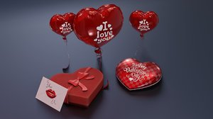 3D valentines day balloon present box model