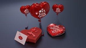 3D valentines day balloon present box model