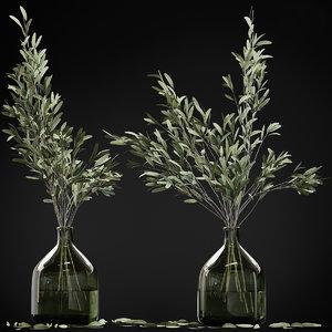 3D olive stems glass vase model