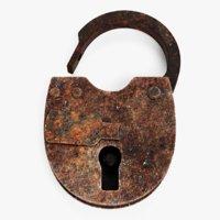 3D rusty padlock