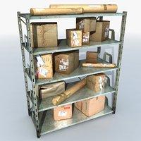 metal shelving boxes 2 3D model