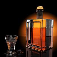 3D whisky bottle glass ice