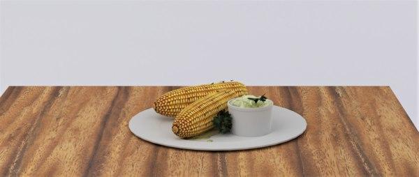 3D corn potato dip model