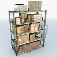 metal shelving boxes 3 3D