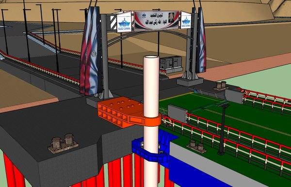 floating bridge suez canal 3D