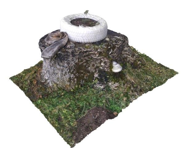 walnut stump scanned 3D model