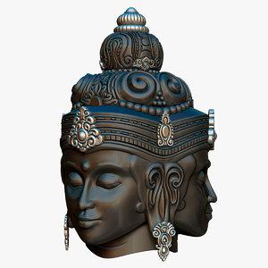 3D brahma faces statue