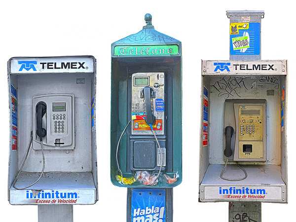3D telephone box mexico pack 3 model