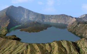landscape lake segara anak 3D model