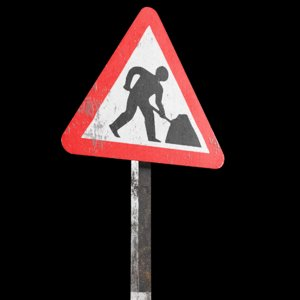 3D men work roadsign