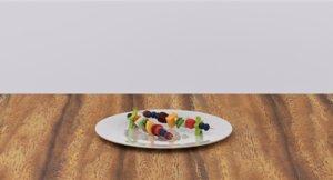3D model fruit skewers