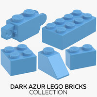 dark azur lego bricks 3D model