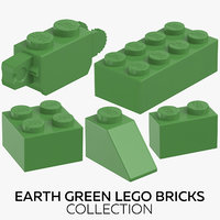 3D earth green lego bricks