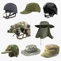 3D military hats 3 model