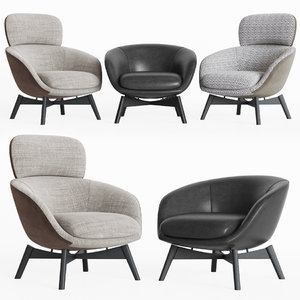 3D minotti russell lounge chair model