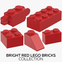 3D bright red lego bricks