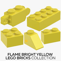 3D flame bright yellow lego bricks