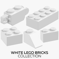 3D white lego bricks