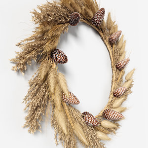 3D wreath dried grass