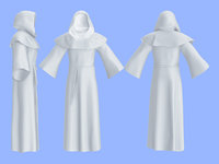 men hooded monk outfit 3D model