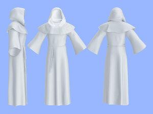 men hooded monk outfit 3D model