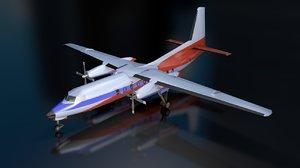3D fokker f27 friendship aircraft