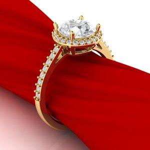 3D luxury engagement ring gem model