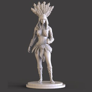 3D aztec women model