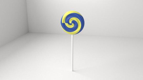 3D blue yellow lollipop 7 model